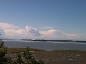 Distant barge near the Port of Anchorage.