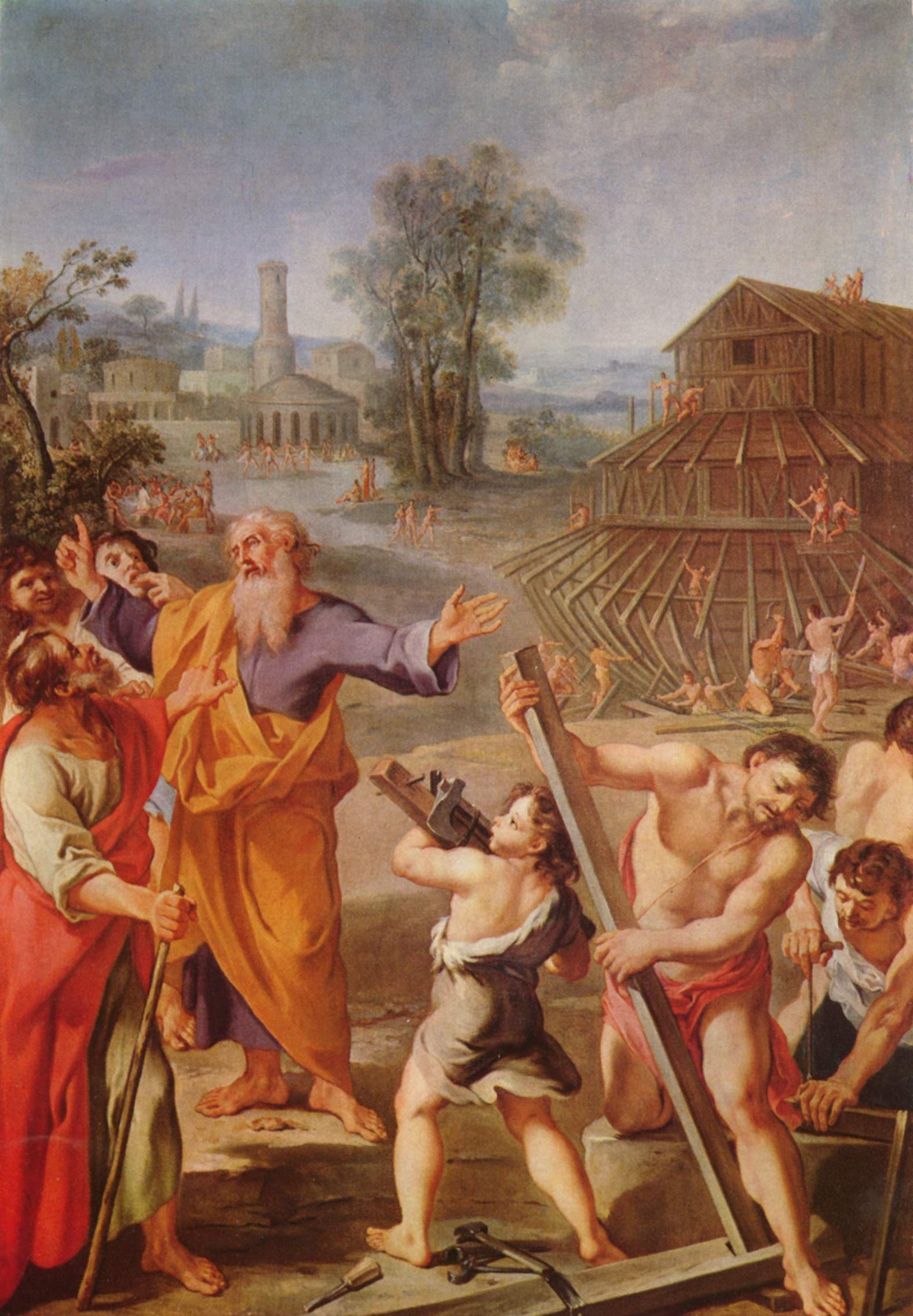 Painting of Noah building ark with his family by French master in 1635.